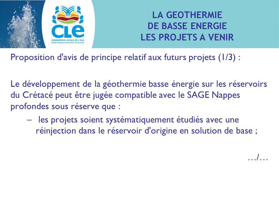 Proposition d'avis de principe relatif aux futurs projets (1/3) : Le développement de la géothermie basse énergie sur les réservoirs du Crétacé peut ê