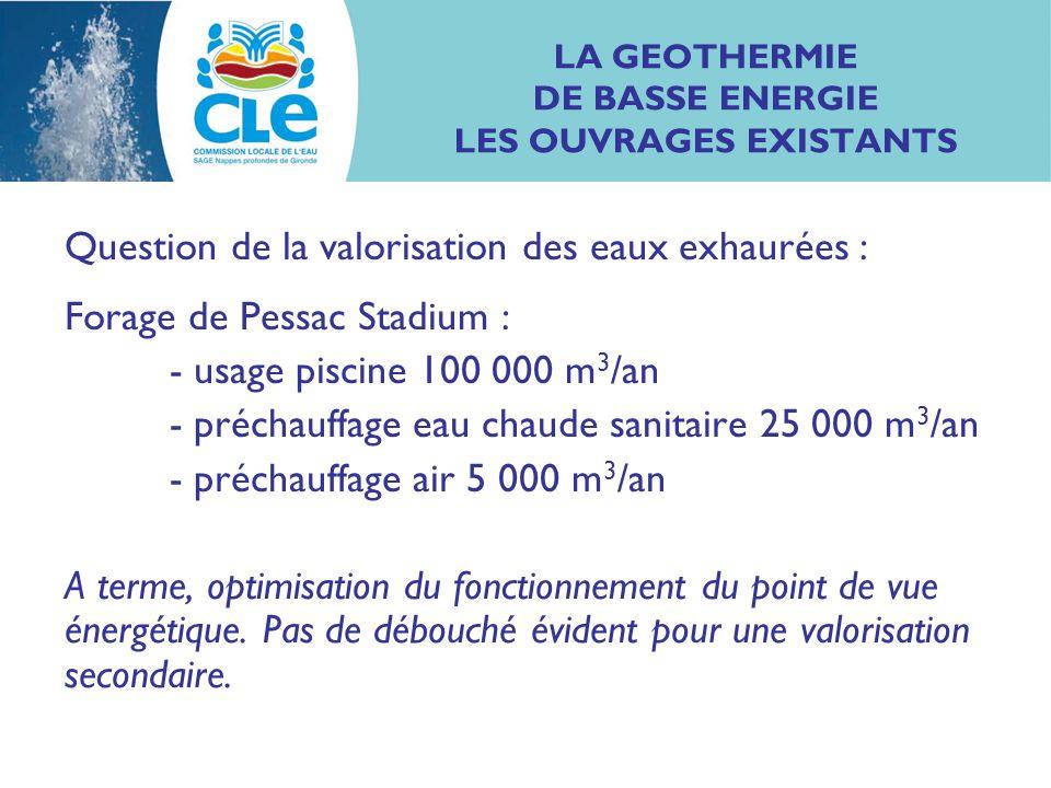 LA GEOTHERMIE DE BASSE ENERGIE LES OUVRAGES EXISTANTS Question de la valorisation des eaux exhaurées : Forage de Pessac Stadium : - usage piscine 100