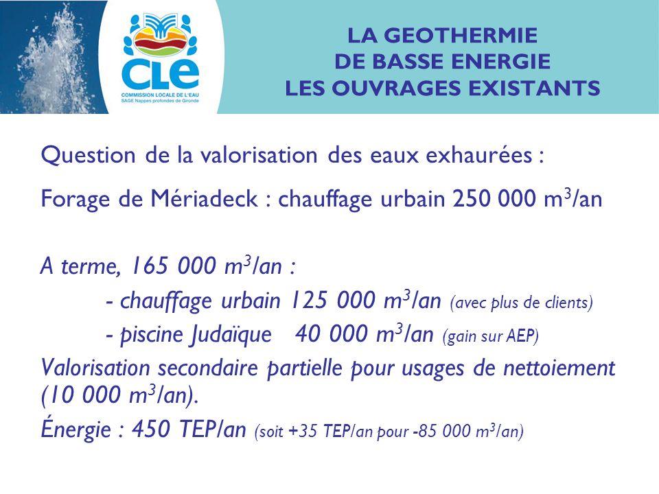 LA GEOTHERMIE DE BASSE ENERGIE LES OUVRAGES EXISTANTS Question de la valorisation des eaux exhaurées : Forage de Mériadeck : chauffage urbain 250 000