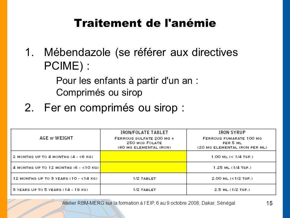 Atelier RBM-MERG sur la formation à lEIP, 6 au 9 octobre 2008, Dakar, Sénégal 15 Traitement de l'anémie 1.Mébendazole (se référer aux directives PCIME