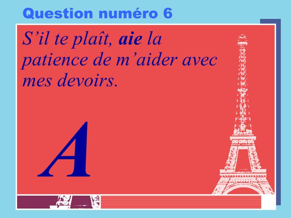 Question numéro 6 Sil te plaît, aie la patience de maider avec mes devoirs. A