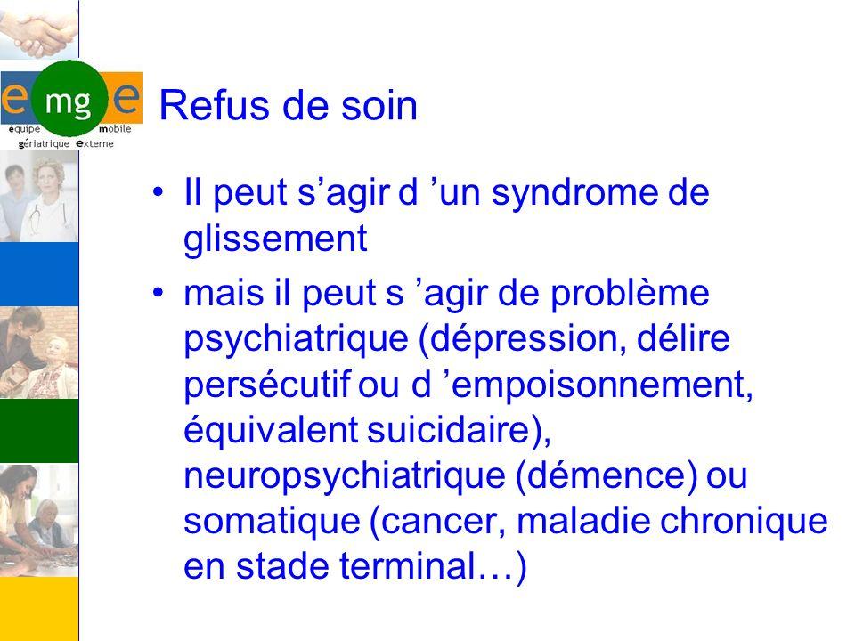 Refus de soin Il peut sagir d un syndrome de glissement mais il peut s agir de problème psychiatrique (dépression, délire persécutif ou d empoisonneme