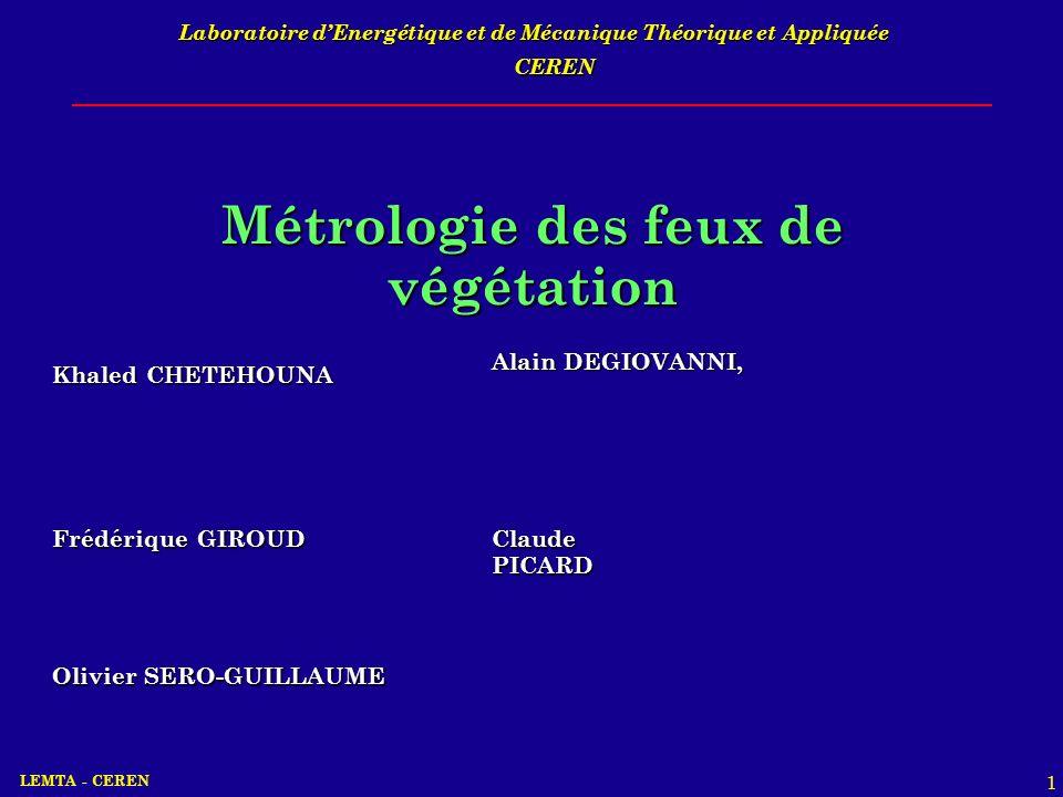 LEMTA - CEREN 1 Laboratoire dEnergétique et de Mécanique Théorique et Appliquée Métrologie des feux de végétation Khaled CHETEHOUNA Alain DEGIOVANNI,