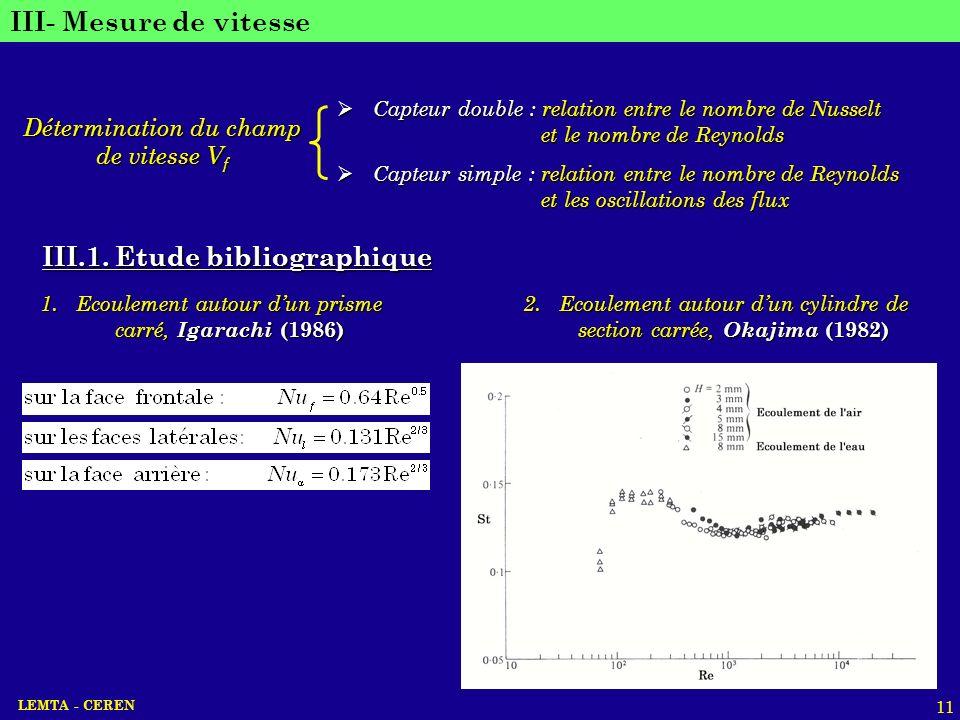 LEMTA - CEREN 11 III- Mesure de vitesse Détermination du champ de vitesse V f Capteur double : relation entre le nombre de Nusselt Capteur double : re