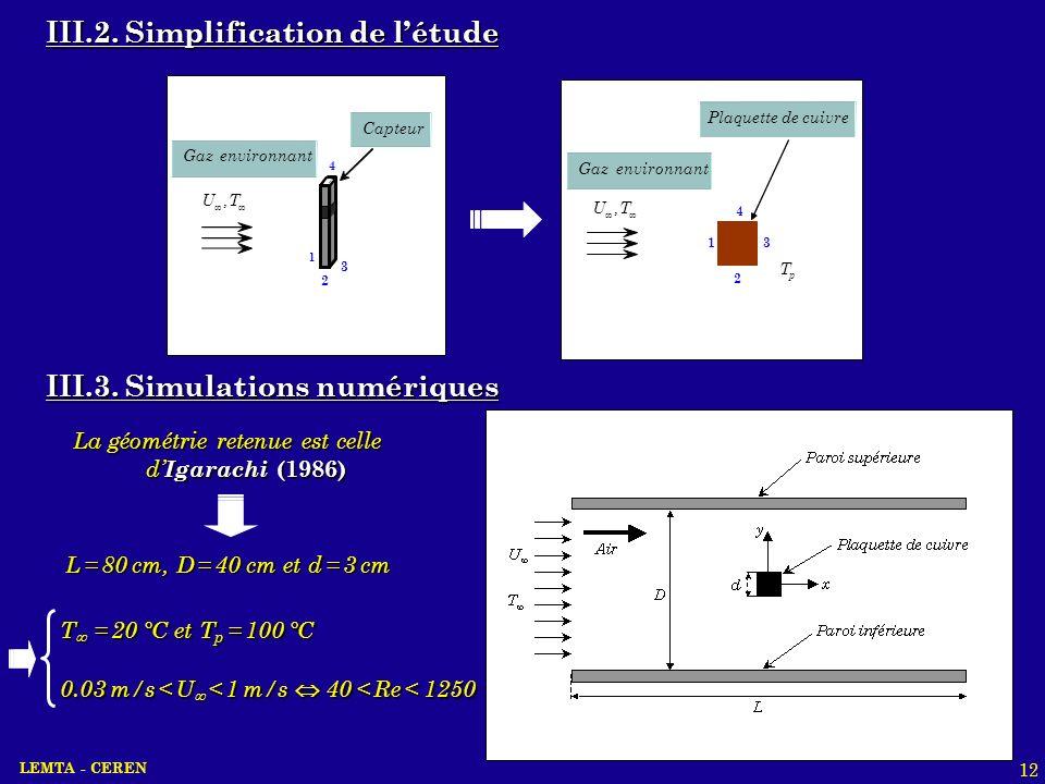 LEMTA - CEREN 12 Plaquette de cuivre TU, p T 1 2 3 4 Gaz environnant Gaz environnant 2 1 3 4 Capteur TU, III.2. Simplification de létude III.3. Simula