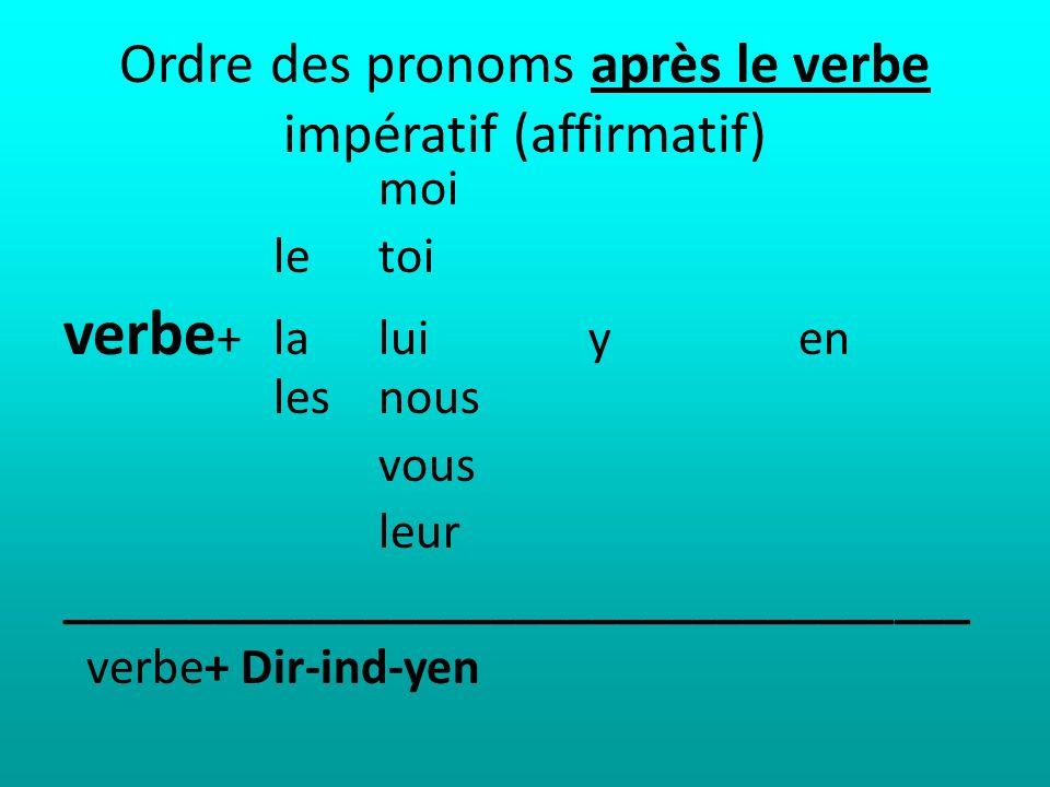 Ordre des pronoms après le verbe impératif (affirmatif) moi le toi verbe +la lui y en lesnous vous leur ____________________________________ verbe+ Di