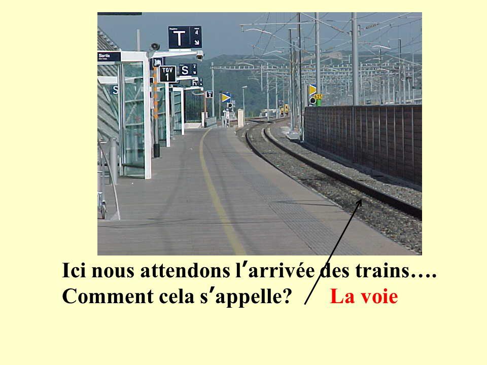 Ici nous attendons larrivée des trains…. Comment cela sappelle? La voie