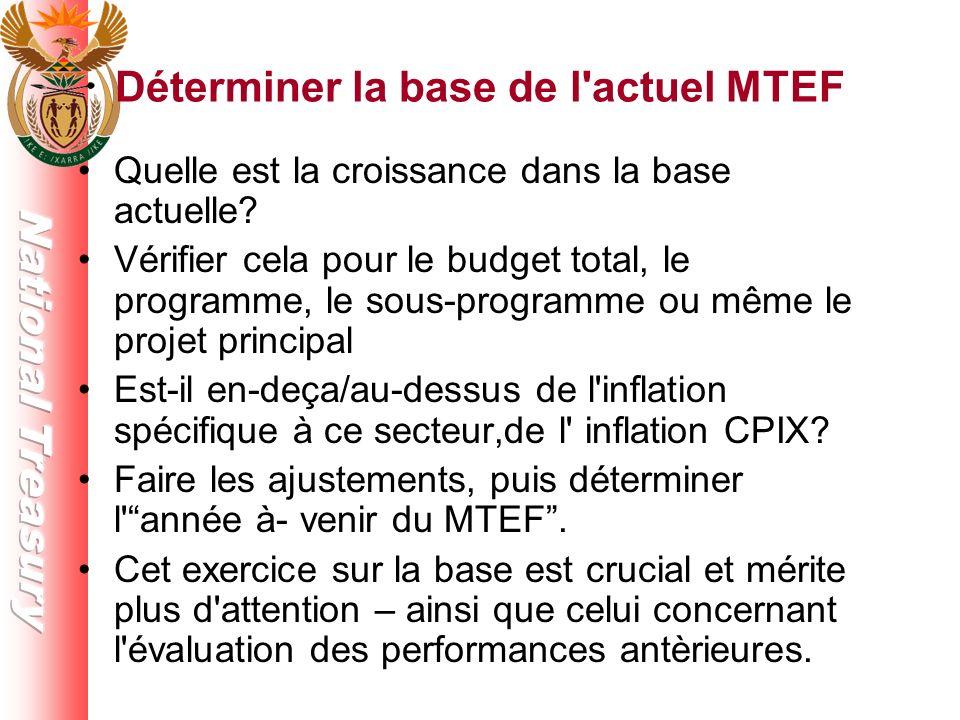 Déterminer la base de l actuel MTEF Quelle est la croissance dans la base actuelle.