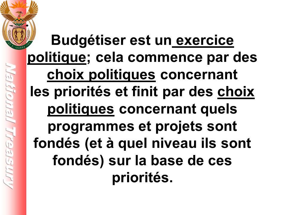 Budgétiser est un exercice politique; cela commence par des choix politiques concernant les priorités et finit par des choix politiques concernant quels programmes et projets sont fondés (et à quel niveau ils sont fondés) sur la base de ces priorités.