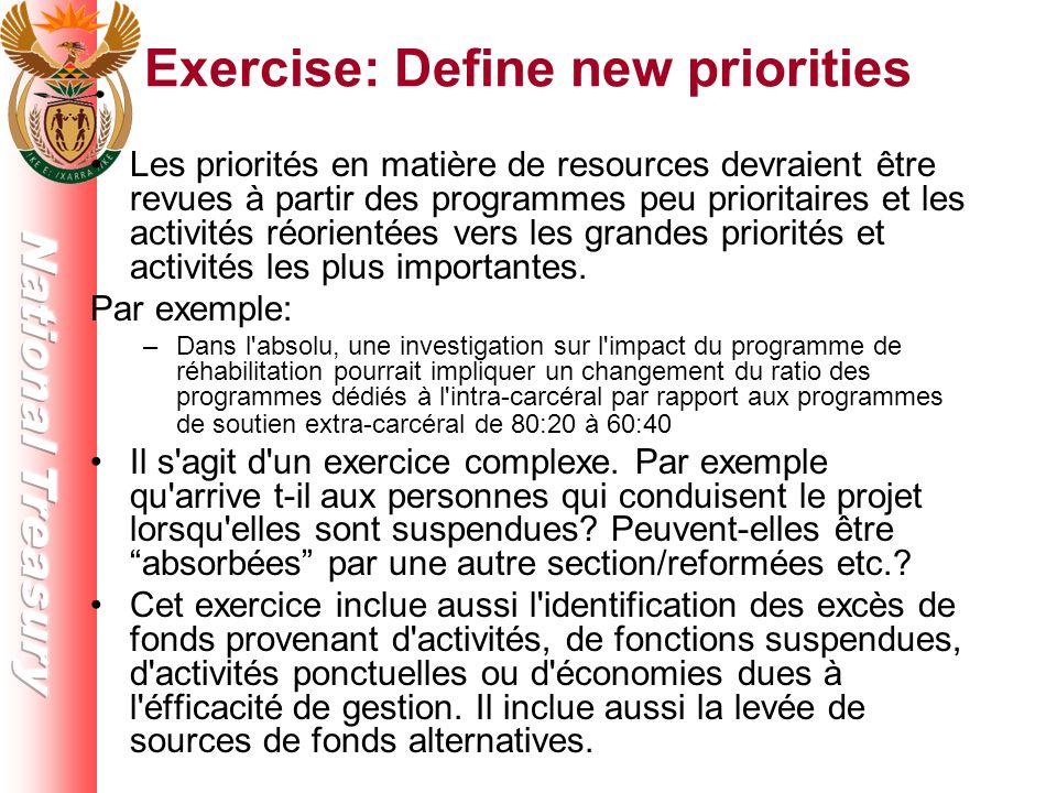 Exercise: Define new priorities Les priorités en matière de resources devraient être revues à partir des programmes peu prioritaires et les activités réorientées vers les grandes priorités et activités les plus importantes.
