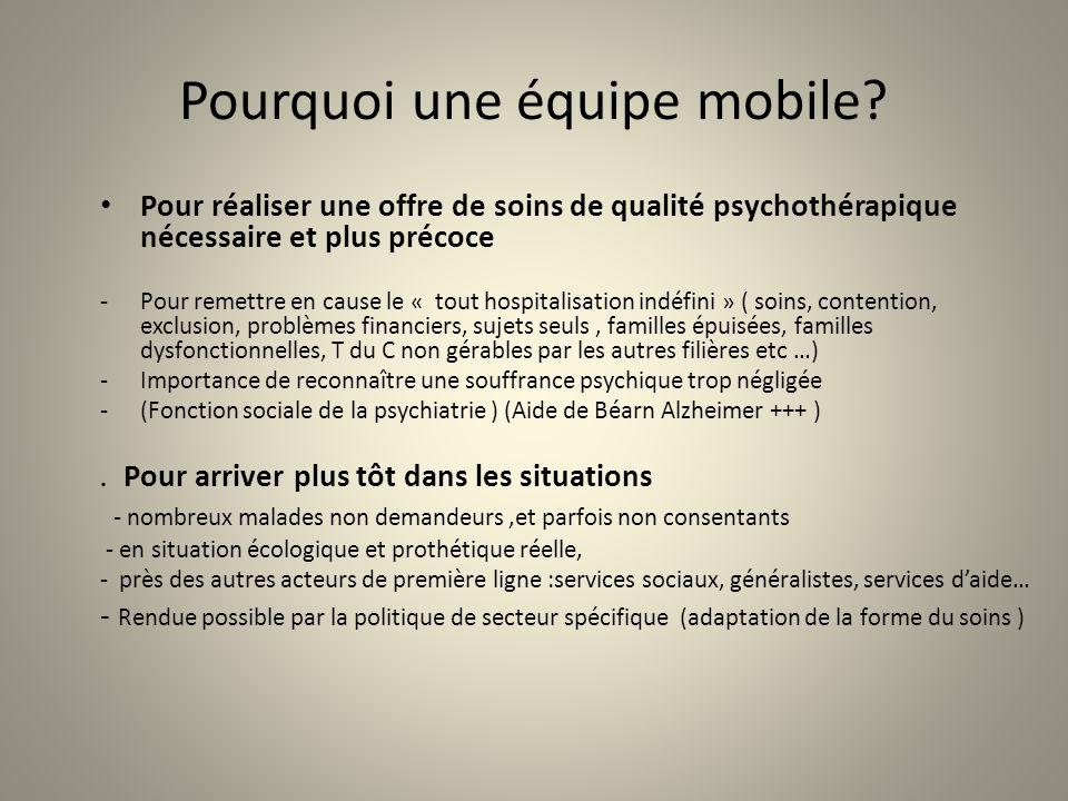 Pourquoi une équipe mobile? Pour réaliser une offre de soins de qualité psychothérapique nécessaire et plus précoce -Pour remettre en cause le « tout