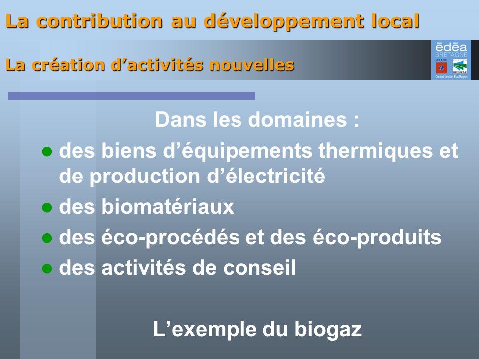 Dans les domaines : des biens déquipements thermiques et de production délectricité des biomatériaux des éco-procédés et des éco-produits des activité
