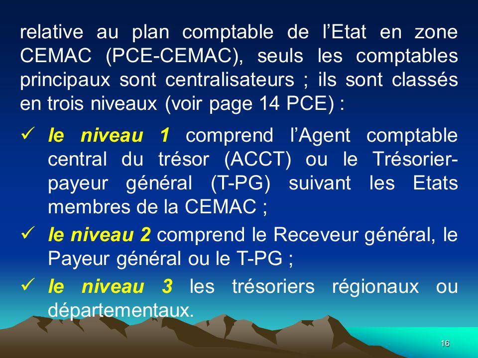 16 relative au plan comptable de lEtat en zone CEMAC (PCE-CEMAC), seuls les comptables principaux sont centralisateurs ; ils sont classés en trois niveaux (voir page 14 PCE) : le niveau 1 comprend lAgent comptable central du trésor (ACCT) ou le Trésorier- payeur général (T-PG) suivant les Etats membres de la CEMAC ; le niveau 2 comprend le Receveur général, le Payeur général ou le T-PG ; le niveau 3 les trésoriers régionaux ou départementaux.