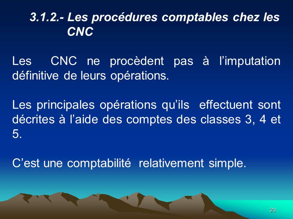 23 3.1.2.- Les procédures comptables chez les CNC Les CNC ne procèdent pas à limputation définitive de leurs opérations.