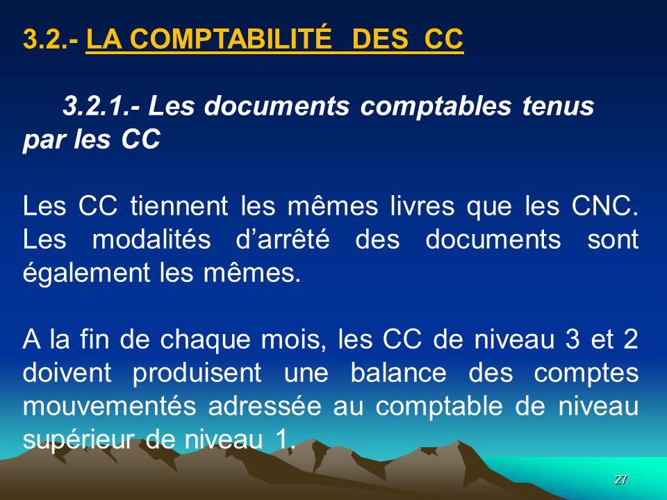 27 3.2.- LA COMPTABILITÉ DES CC 3.2.1.- Les documents comptables tenus par les CC Les CC tiennent les mêmes livres que les CNC.