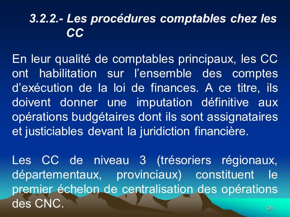 28 3.2.2.- Les procédures comptables chez les CC En leur qualité de comptables principaux, les CC ont habilitation sur lensemble des comptes dexécution de la loi de finances.