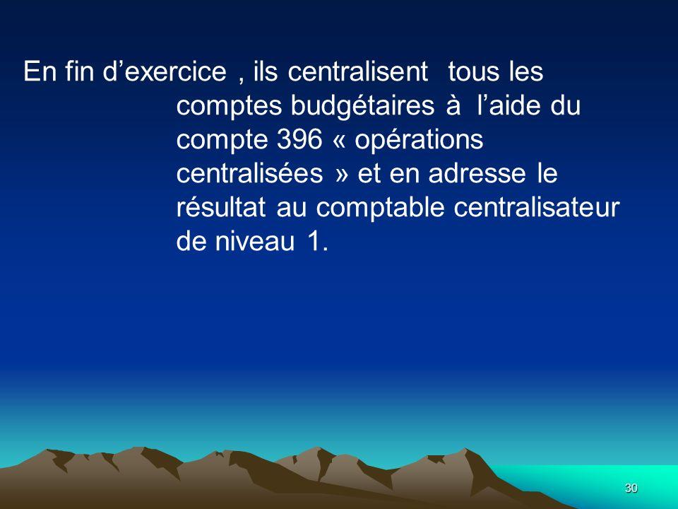 30 En fin dexercice, ils centralisent tous les comptes budgétaires à laide du compte 396 « opérations centralisées » et en adresse le résultat au comptable centralisateur de niveau 1.