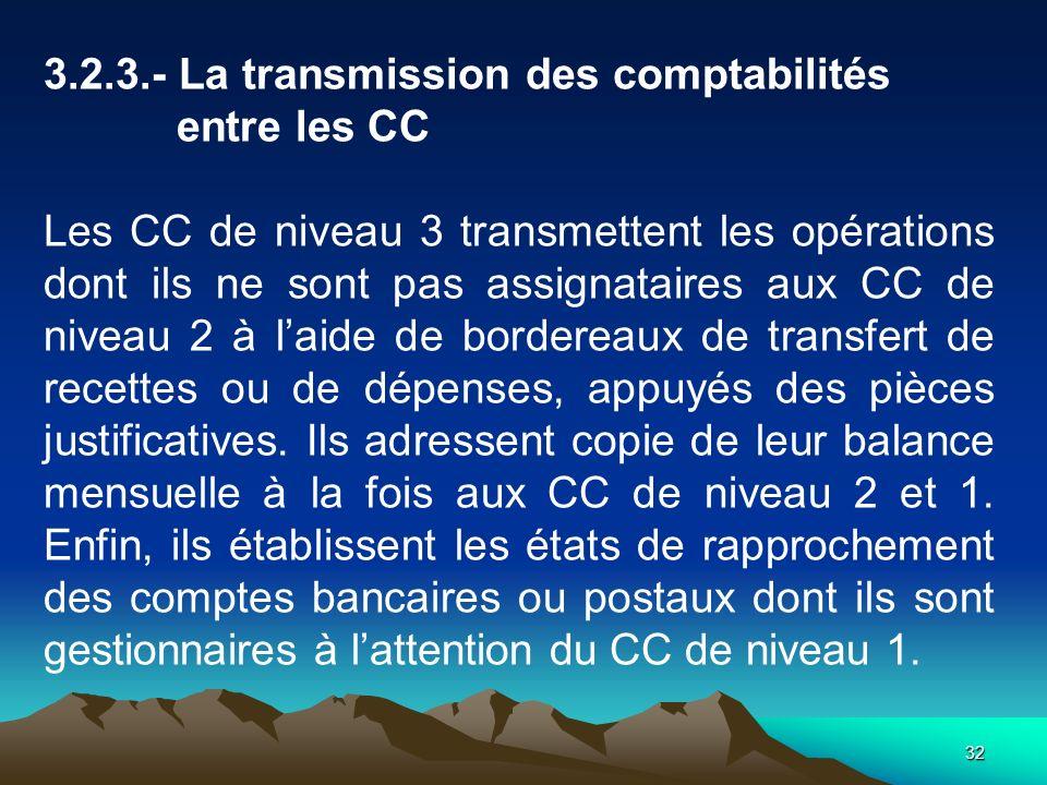 32 3.2.3.- La transmission des comptabilités entre les CC Les CC de niveau 3 transmettent les opérations dont ils ne sont pas assignataires aux CC de niveau 2 à laide de bordereaux de transfert de recettes ou de dépenses, appuyés des pièces justificatives.