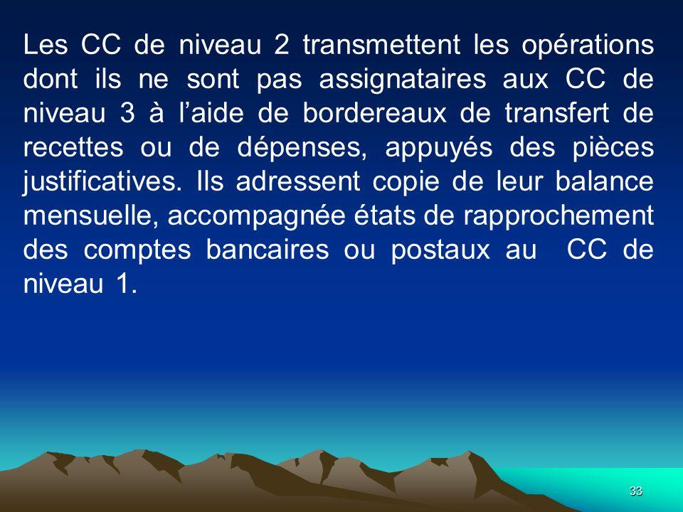 33 Les CC de niveau 2 transmettent les opérations dont ils ne sont pas assignataires aux CC de niveau 3 à laide de bordereaux de transfert de recettes ou de dépenses, appuyés des pièces justificatives.