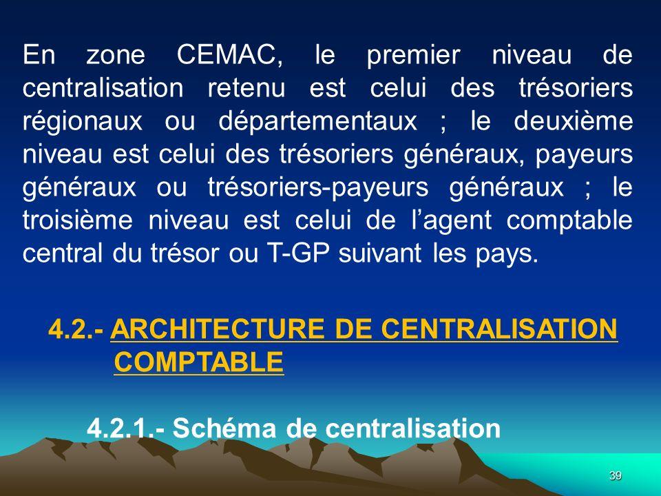 39 En zone CEMAC, le premier niveau de centralisation retenu est celui des trésoriers régionaux ou départementaux ; le deuxième niveau est celui des trésoriers généraux, payeurs généraux ou trésoriers-payeurs généraux ; le troisième niveau est celui de lagent comptable central du trésor ou T-GP suivant les pays.