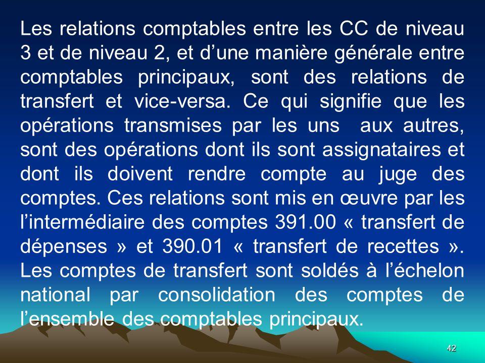 42 Les relations comptables entre les CC de niveau 3 et de niveau 2, et dune manière générale entre comptables principaux, sont des relations de transfert et vice-versa.