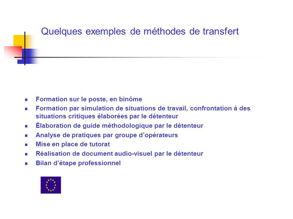 Quelques exemples de méthodes de transfert Formation sur le poste, en binôme Formation par simulation de situations de travail, confrontation à des si