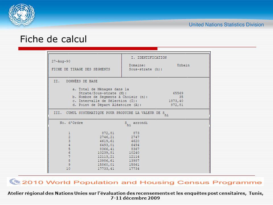 Fiche de calcul Atelier régional des Nations Unies sur lévaluation des recensements et les enquêtes post censitaires, Tunis, 7-11 décembre 2009