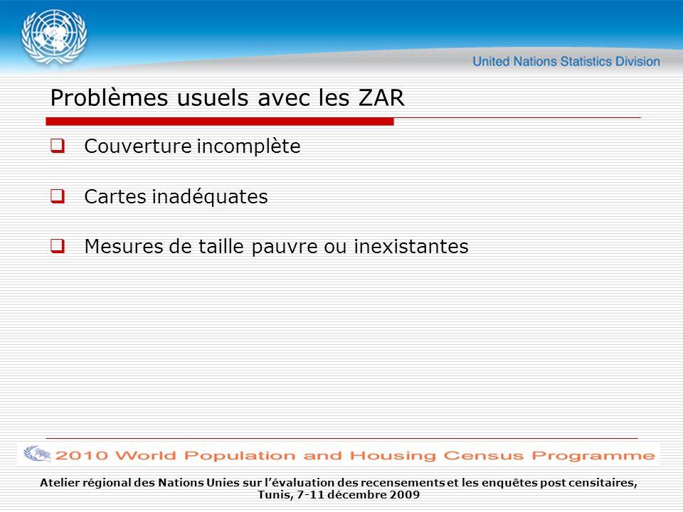 Problèmes usuels avec les ZAR Couverture incomplète Cartes inadéquates Mesures de taille pauvre ou inexistantes Atelier régional des Nations Unies sur