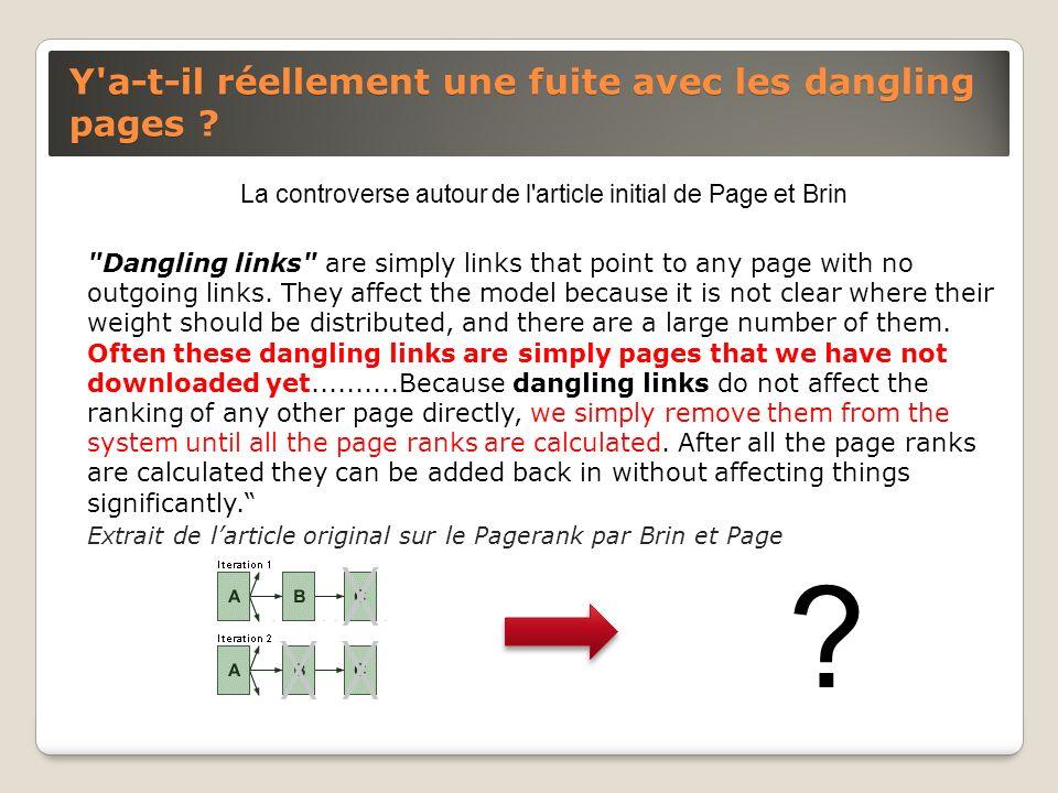 Y'a-t-il réellement une fuite avec les dangling pages ? La controverse autour de l'article initial de Page et Brin