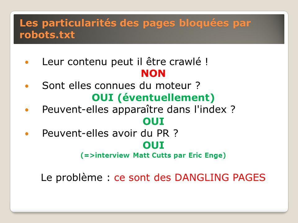 Les particularités des pages bloquées par robots.txt Leur contenu peut il être crawlé ! NON Sont elles connues du moteur ? OUI (éventuellement) Peuven