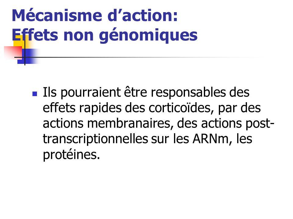 Mécanisme daction: Effets non génomiques Ils pourraient être responsables des effets rapides des corticoïdes, par des actions membranaires, des actions post- transcriptionnelles sur les ARNm, les protéines.