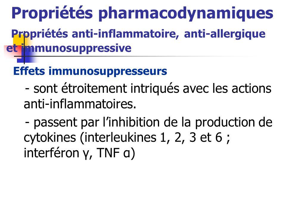 Propriétés pharmacodynamiques Propriétés anti-inflammatoire, anti-allergique et immunosuppressive Effets immunosuppresseurs - sont étroitement intriqu