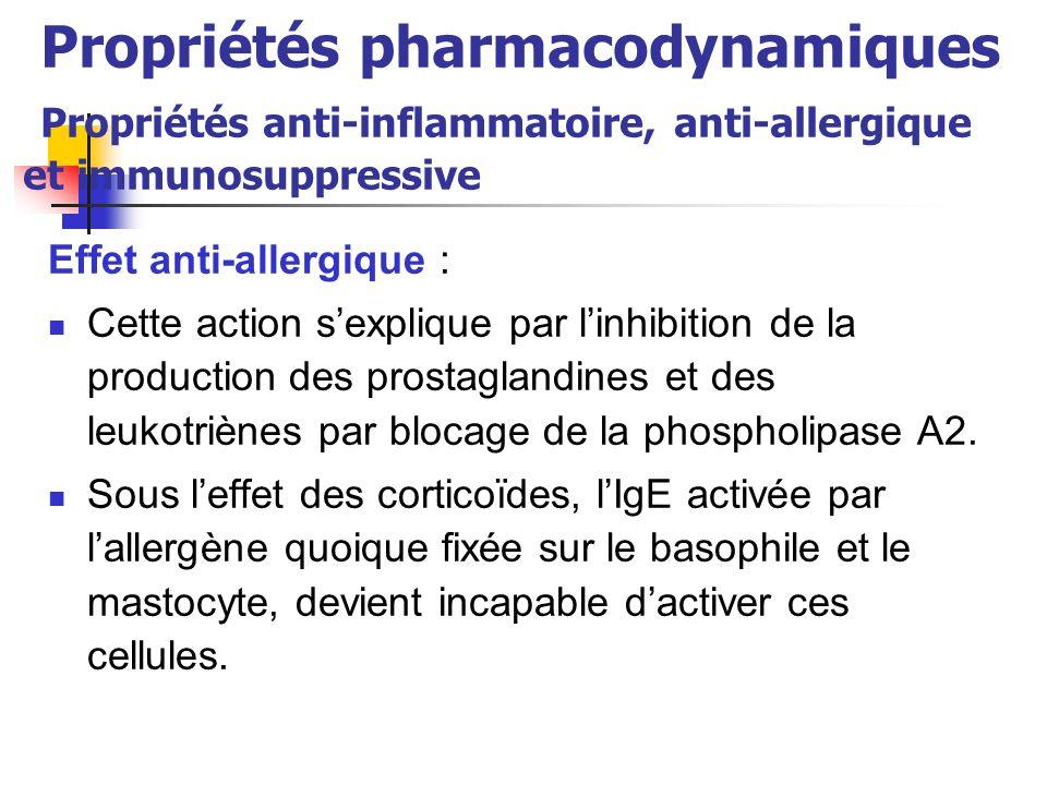 Propriétés pharmacodynamiques Propriétés anti-inflammatoire, anti-allergique et immunosuppressive Effet anti-allergique : Cette action sexplique par linhibition de la production des prostaglandines et des leukotriènes par blocage de la phospholipase A2.