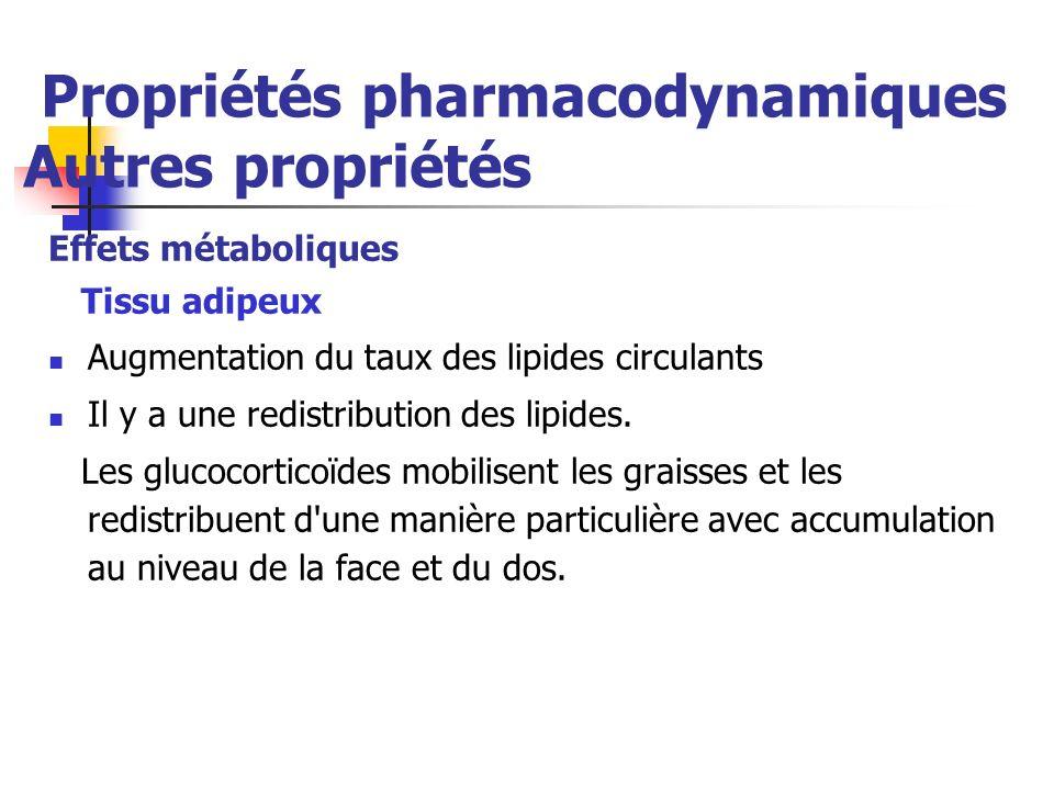 Propriétés pharmacodynamiques Autres propriétés Effets métaboliques Tissu adipeux Augmentation du taux des lipides circulants Il y a une redistribution des lipides.
