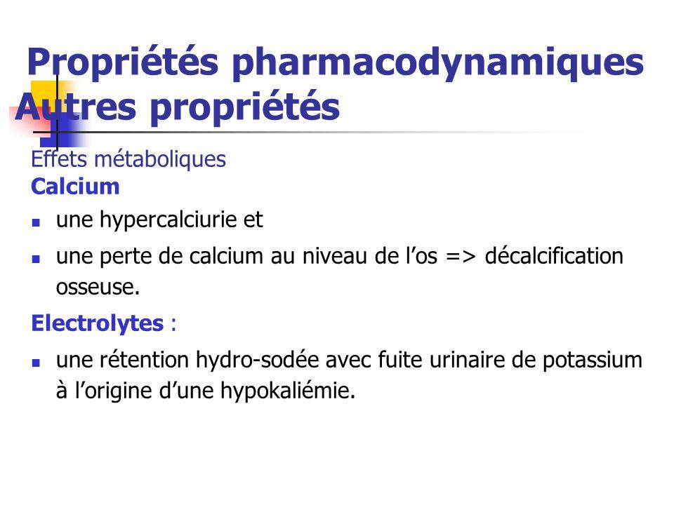 Propriétés pharmacodynamiques Autres propriétés Effets métaboliques Calcium une hypercalciurie et une perte de calcium au niveau de los => décalcification osseuse.