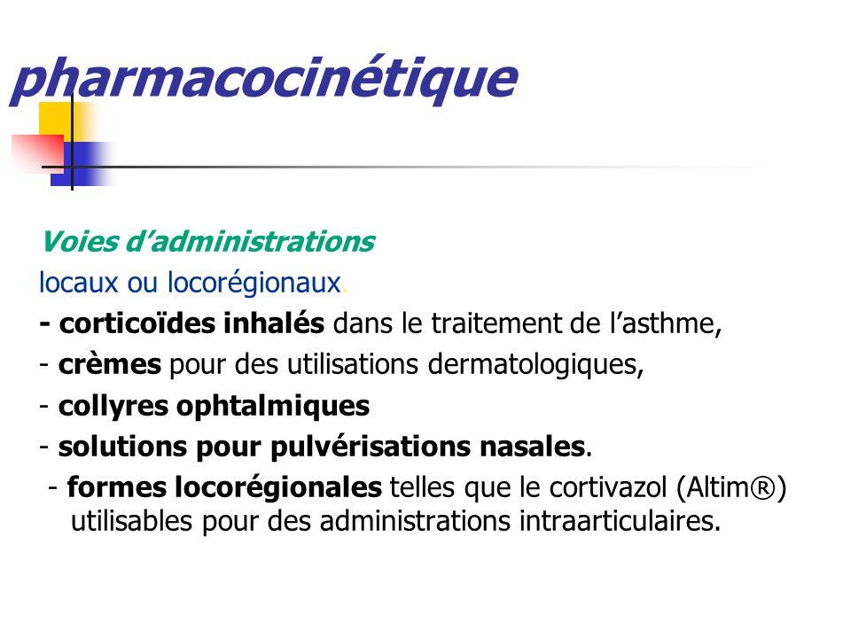 pharmacocinétique Voies dadministrations locaux ou locorégionaux. - corticoïdes inhalés dans le traitement de lasthme, - crèmes pour des utilisations