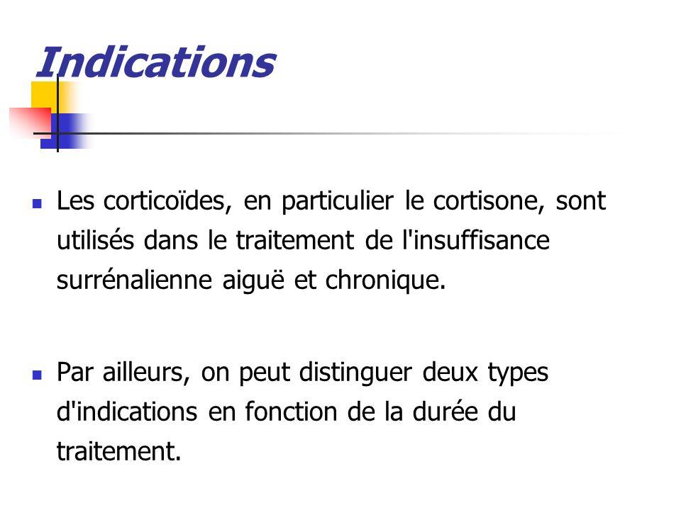 Indications Les corticoïdes, en particulier le cortisone, sont utilisés dans le traitement de l'insuffisance surrénalienne aiguë et chronique. Par ail