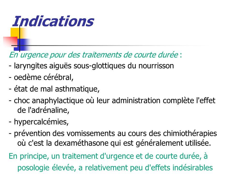 Indications En urgence pour des traitements de courte durée : - laryngites aiguës sous-glottiques du nourrisson - oedème cérébral, - état de mal asthm