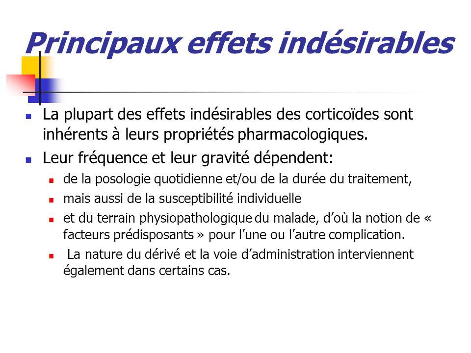 Principaux effets indésirables La plupart des effets indésirables des corticoïdes sont inhérents à leurs propriétés pharmacologiques. Leur fréquence e