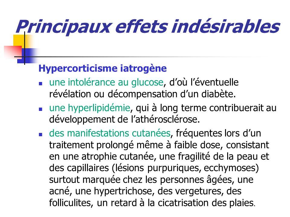 Principaux effets indésirables Hypercorticisme iatrogène une intolérance au glucose, doù léventuelle révélation ou décompensation dun diabète.