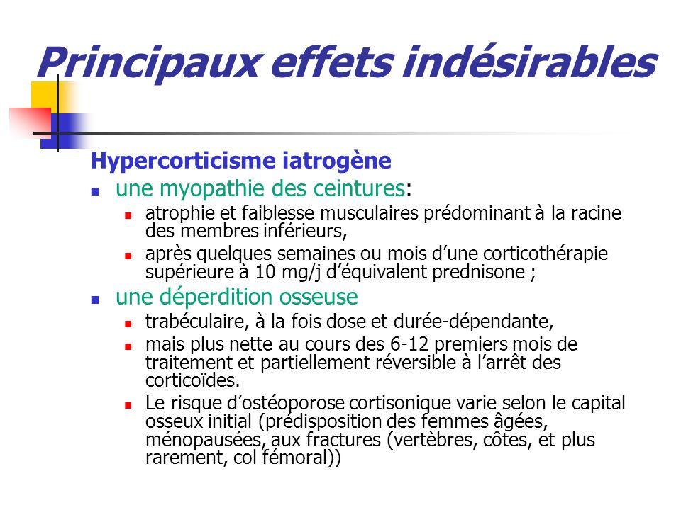 Principaux effets indésirables Hypercorticisme iatrogène une myopathie des ceintures: atrophie et faiblesse musculaires prédominant à la racine des membres inférieurs, après quelques semaines ou mois dune corticothérapie supérieure à 10 mg/j déquivalent prednisone ; une déperdition osseuse trabéculaire, à la fois dose et durée-dépendante, mais plus nette au cours des 6-12 premiers mois de traitement et partiellement réversible à larrêt des corticoïdes.