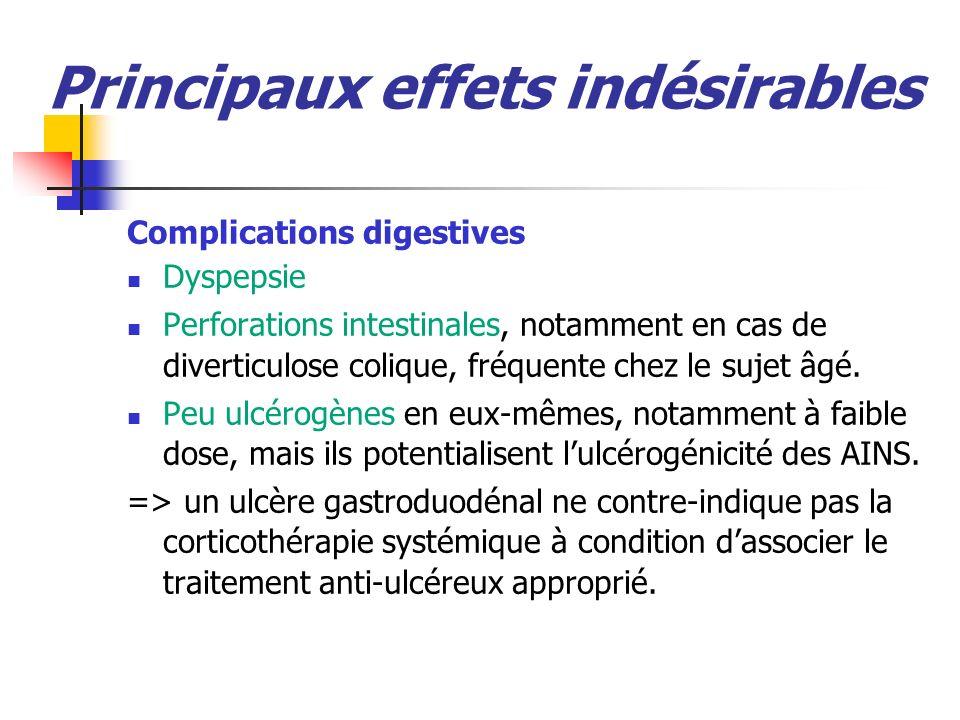 Principaux effets indésirables Complications digestives Dyspepsie Perforations intestinales, notamment en cas de diverticulose colique, fréquente chez le sujet âgé.
