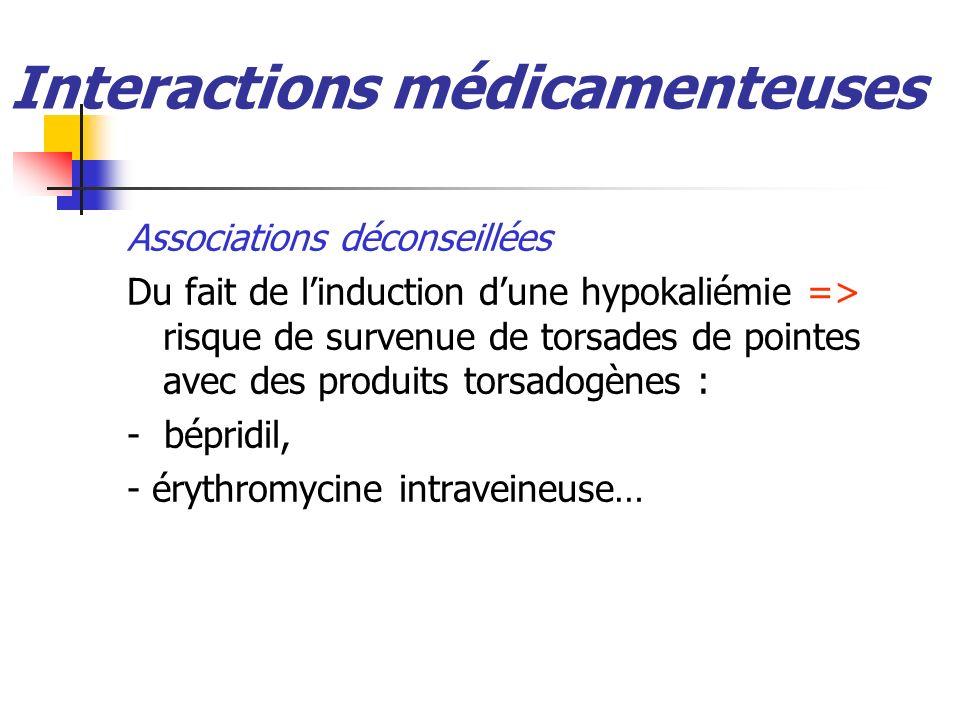 Interactions médicamenteuses Associations déconseillées Du fait de linduction dune hypokaliémie => risque de survenue de torsades de pointes avec des