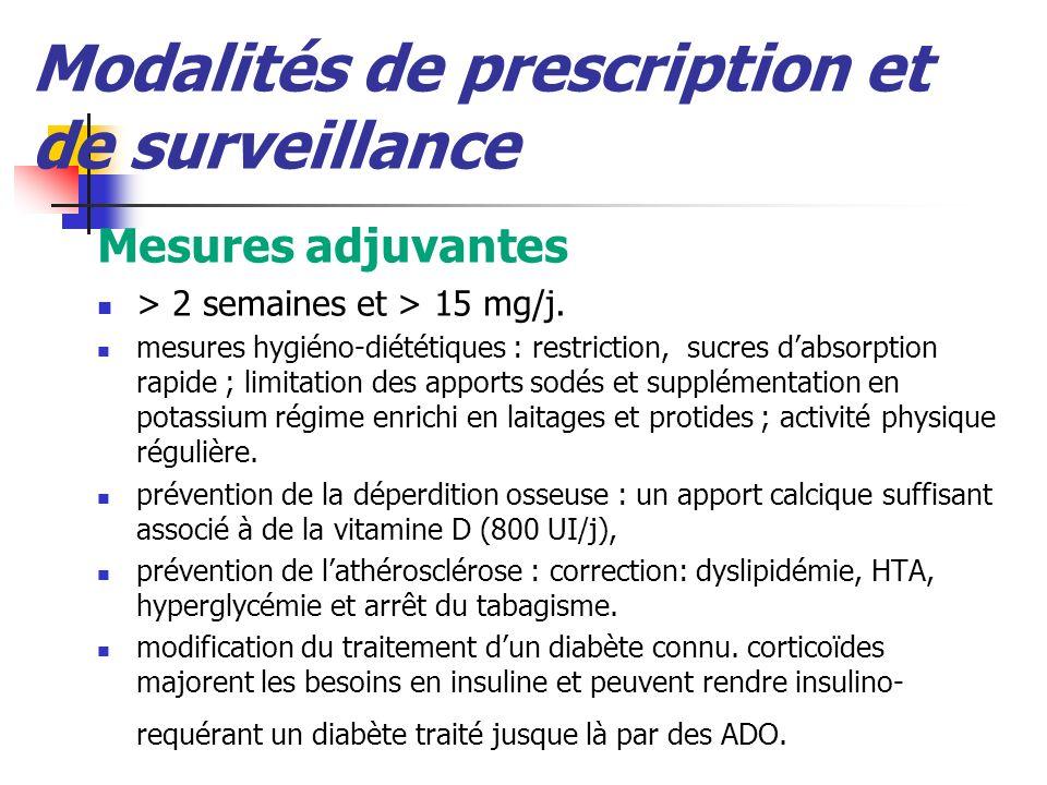 Modalités de prescription et de surveillance Mesures adjuvantes > 2 semaines et > 15 mg/j. mesures hygiéno-diététiques : restriction, sucres dabsorpti