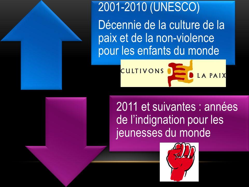 2001-2010 (UNESCO) Décennie de la culture de la paix et de la non-violence pour les enfants du monde 2011 et suivantes : années de lindignation pour l