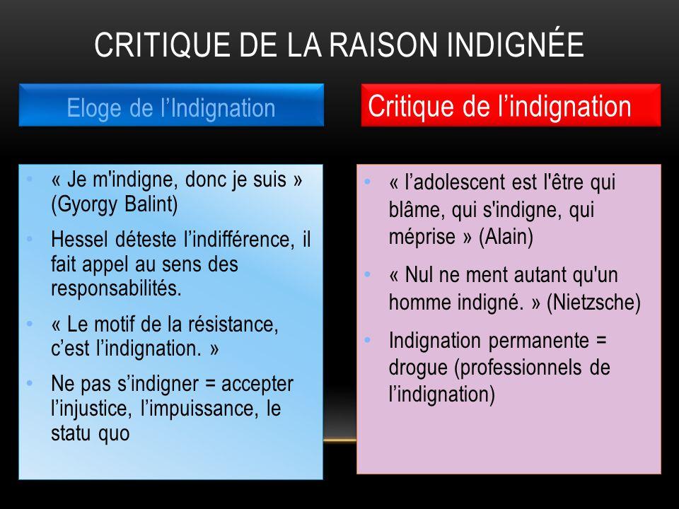 « ladolescent est l'être qui blâme, qui s'indigne, qui méprise » (Alain) « Nul ne ment autant qu'un homme indigné. » (Nietzsche) Indignation permanent