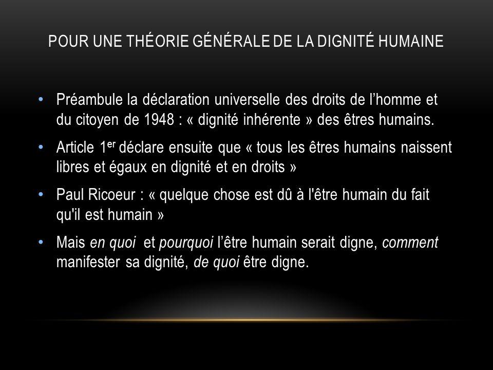 POUR UNE THÉORIE GÉNÉRALE DE LA DIGNITÉ HUMAINE Préambule la déclaration universelle des droits de lhomme et du citoyen de 1948 : « dignité inhérente