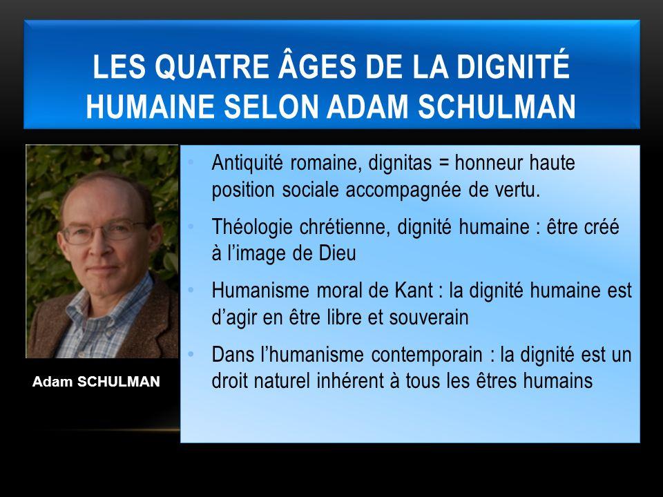 LES QUATRE ÂGES DE LA DIGNITÉ HUMAINE SELON ADAM SCHULMAN Adam SCHULMAN