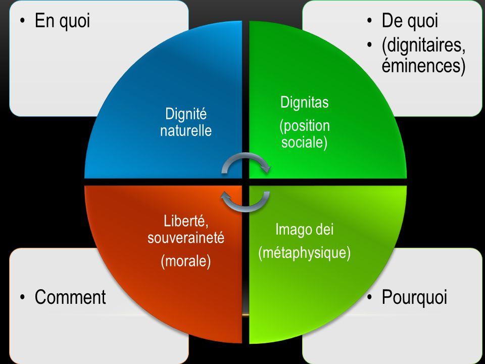 PourquoiComment De quoi (dignitaires, éminences) En quoi Dignité naturelle Dignitas (position sociale) Imago dei (métaphysique) Liberté, souveraineté