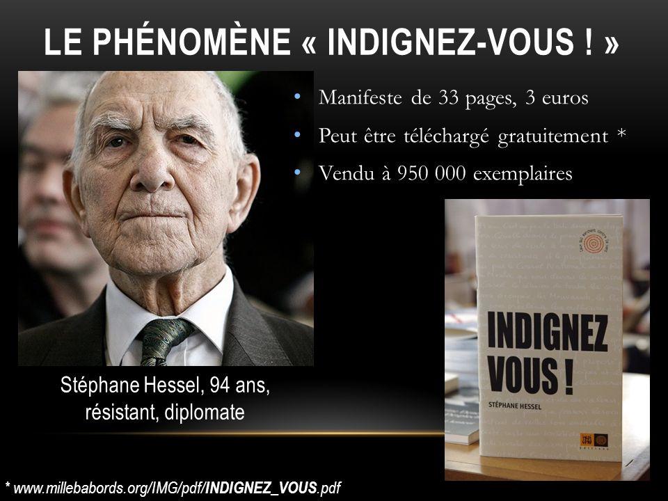 Manifeste de 33 pages, 3 euros Peut être téléchargé gratuitement * Vendu à 950 000 exemplaires LE PHÉNOMÈNE « INDIGNEZ-VOUS ! » * www.millebabords.org